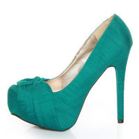 Qupid Marquise 10 Teal Thai Silk Knotty Bow Platform Pumps - &amp;#36;35.00