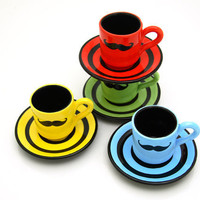Set of Four Moustache Espresso Cup and Saucers by LennyMud on Etsy