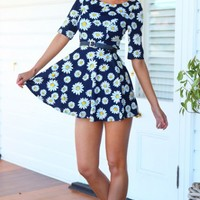 DAISY CHAIN DRESS - Daisy print navy dress