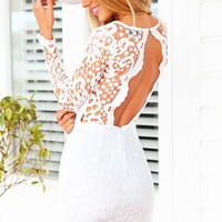 MARLIE DRESS - long sleeve lace body con dress