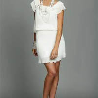 White Pencil/High Waist Skirt - White Pleated Skirt with Side | UsTrendy