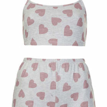 Heart Print PJ Crop Top and Shorts - Grey