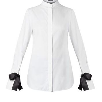 Bow-fastening cuffs cotton shirt