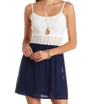CHIFFON & LACE COLOR BLOCK DRESS
