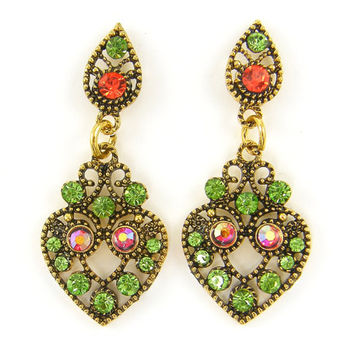 Green Orange Rhinestone Drop Earrings Antique Gold Chandelier Earrings Ornate Vintage Style Jewelry