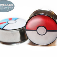 0g9/16in Pokémon & Pokéball Plugs by SkywalkerDesigns on Etsy