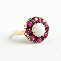 Vintage 10K Rose Gold Opal & Ruby Cluster Ring - Size 6.5 Late Art Deco 1940s Fine Jewelry with Black Enamel Detail