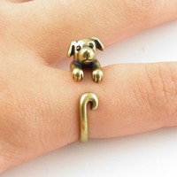 Gold Puppy Wrap Ring | KejaJewelry - Jewelry on ArtFire