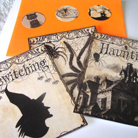 Gothic Halloween Flat Card Set of 3 Envelopes And Seals Witch Haunted House And Large Spider