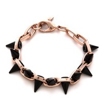 Black Out Double Row Spike Bracelet