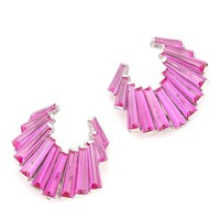 Fishtail Baguette Crescent Earrings