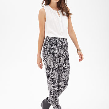 Paisley Print Pleated Pants