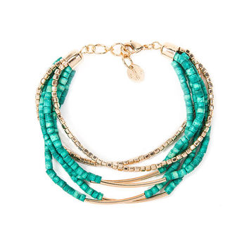 Turquoise Tube Beads and Gold Bars Multi-Strand Bracelet