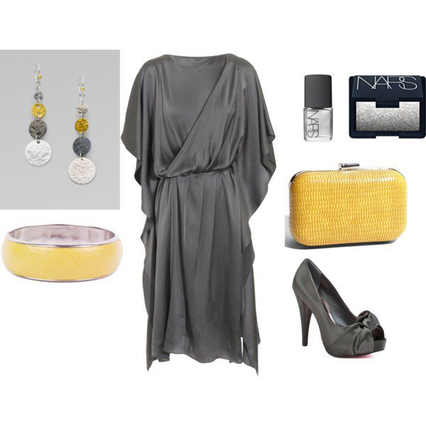 Yellow Grey Cocktail Dress Outfit (New from polyvore.com | my