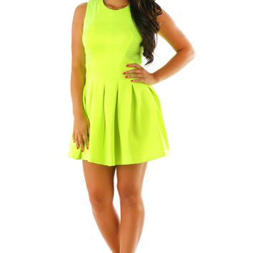 Spinning Signs Dress: Neon Green