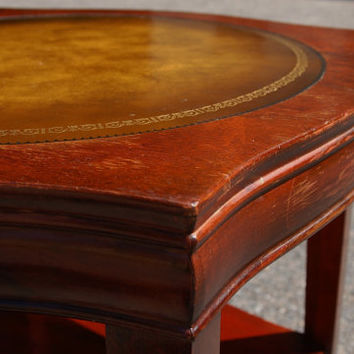 Leather Inlaid Table with Brass Capped Feet, Shabby Chic Mahogany Leather Inlay Side Table End Table Shelf, Regency Style Leather Top Table
