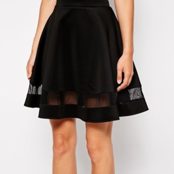 ASOS Skater Skirt In Scuba With Sheer Panel