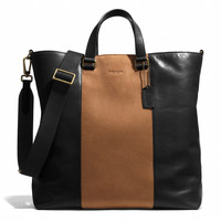 BLEECKER CENTER STRIPE DAY TOTE IN LEATHER