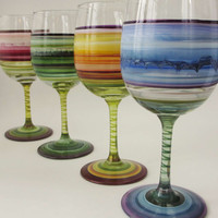 Colors of the Seasons Four Painted Wine Glasses by marysworkshop