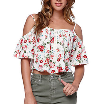 LA Hearts Hook N Eye Cold Shoulder Top - Womens Shirts - White -