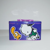 Vintage Pochacco Tin Box Collectible Sanrio Character Tin Case Lunchbox School Box Japan Hello Kitty HK Kawaii 80s 90s Pochacco The Cool K-9