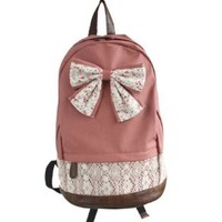 New Top Trendy Cute Korean Lace Backpack College Style Leisure Backpack Gilr's Lovely Bow Vintage Floral Print School Bag Retro Sweet Fashionable Outdoor Backpack for Teens Students Women Ladies Girls (Red)