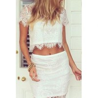Two-Piece Lace with Crop Tee and Knee-Length Skirt