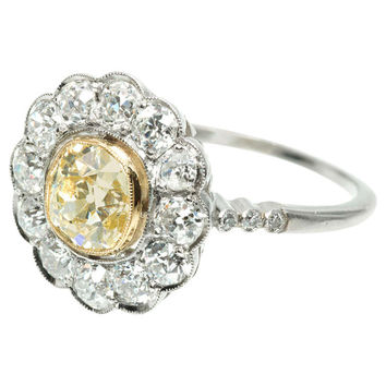 Natural Fancy Light Yellow Diamond Ring