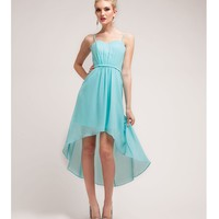 2014 Prom Dresses - Aqua Chiffon High-Low Spaghetti Strap Dress