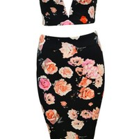Sexy Deep V Floral Two-Piece
