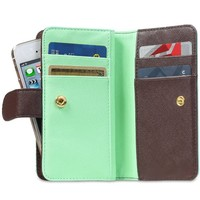 Fosmon CADDY-IDEAL Universal Leather Wallet Flip Case with Card Holders fits the Apple iPhone 5 / 5S / 5C, Motorola Moto X, HTC One Mini and More - Retail Packaging (Sky Green / Dark Brown)