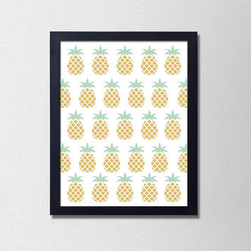 Modern Pineapple Kitchen Wall Art. Pineapple Print. Modern Kitchen Art. Green and Gold Pineapples. Fruit Print. Kitchen Fruit Print.