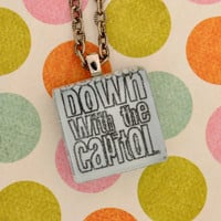 Down with the Capitol Hunger Games Glass by everlastingdoodle