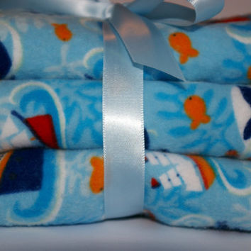 Nautical baby burp cloths set of three boy or girl