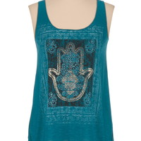 Criss cross back foil hand graphic tank