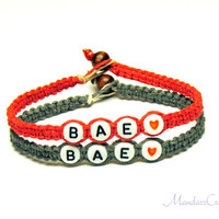 Couples or Friendship Bracelets, Set of Two, BAE, Red and Grey Hemp Jewelry