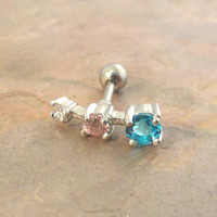 Triple Crystal Cartilage Earring Tragus Helix Piercing Aqua Pink Clear Crystal