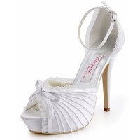 Elegantpark Women's EP11056-IP Ruffles Pleated Peep Toe Platform High Heel Satin Wedding Shoes