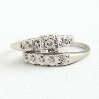 Vintage 14k White Gold Diamond Engagement Ring & Wedding Band Set - 1950s Mid Century Size 7 1/2 Wedding Fine Jewelry