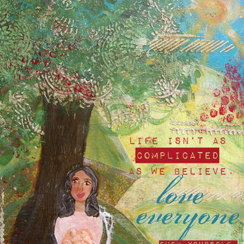 Love Yourself Inspirational Quote Print of an Original Mixed Media Painting