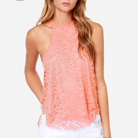 LULUS Exclusive Goodness Graces Coral Lace Halter Top