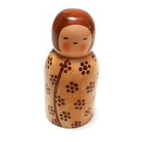 Kokeshi Doll. Handmade wooden doll.