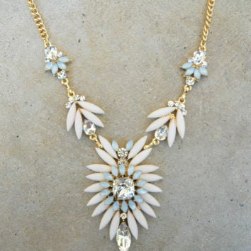 Ivory Thistle & Sparkle Necklace [5905] - $18.90 : Vintage Inspired Clothing & Affordable Dresses, deloom | Modern. Vintage. Crafted.