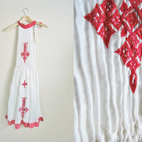 The Siesta - Vintage White cotton Gauze Embroidered Summer Dress