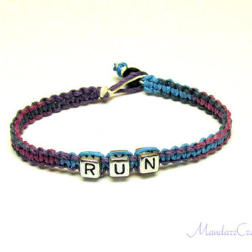 Run Bracelet, Purple Haze Macrame Hemp Jewelry for Runners, Fitness Motivation, Made to Order