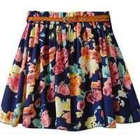 Am Clothes Womens Girl Lady Floral Summer Short Princess Skirt with Belt (BIG FLOWER-BLUE)