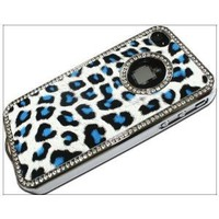 Luxury Unique Best Leopard Leather Print Czech Rhinestone Case Cover For Apple iPhone 4 4G 4S Crystal - Blue