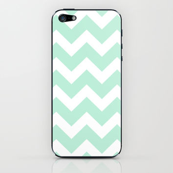 Chevron Mint Green & White iPhone & iPod Skin by BeautifulHomes | Society6