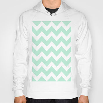 Chevron Mint Green & White Hoody by BeautifulHomes | Society6