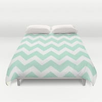 Chevron Mint Green & White Duvet Cover by BeautifulHomes | Society6